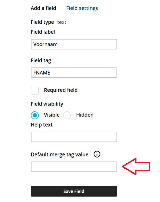merge tag voornaam Mailchimp