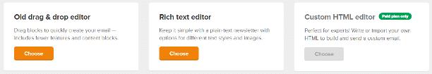 rich text editor in MailerLIte