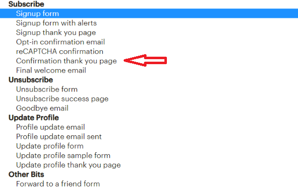 confirmation thank you page