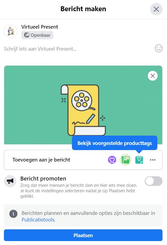 aanklikbare link in facebook bericht