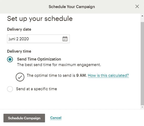 set up your schedule verzendtijd optimalisatie mailchimp