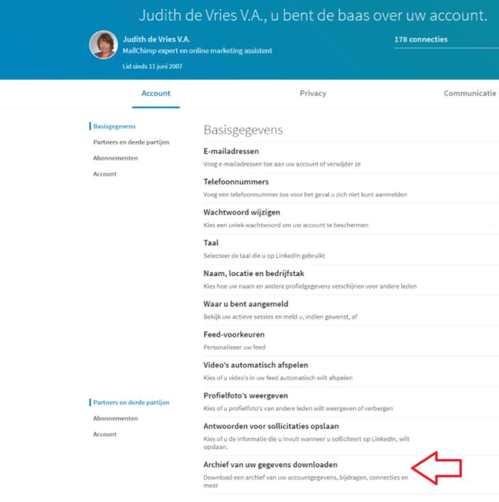 LinkedIn archief downloaden