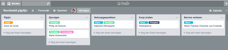 trello pijplijn marketing