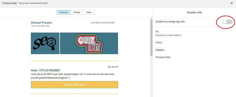 Mailchimp nieuwsbrief testen schuifje omzetten