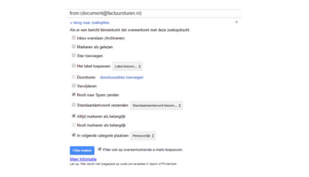 filter in gmail belangrijk