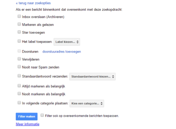 Nieuw filter in gmail