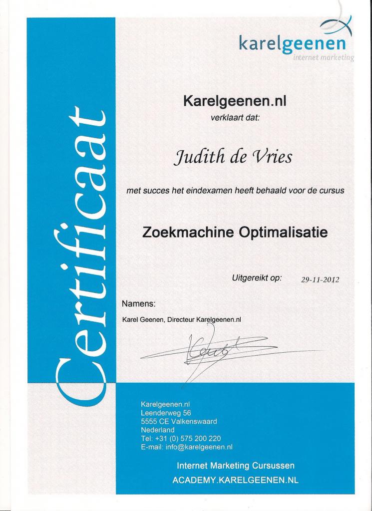 Certificaat zoekmachine optimalisatie