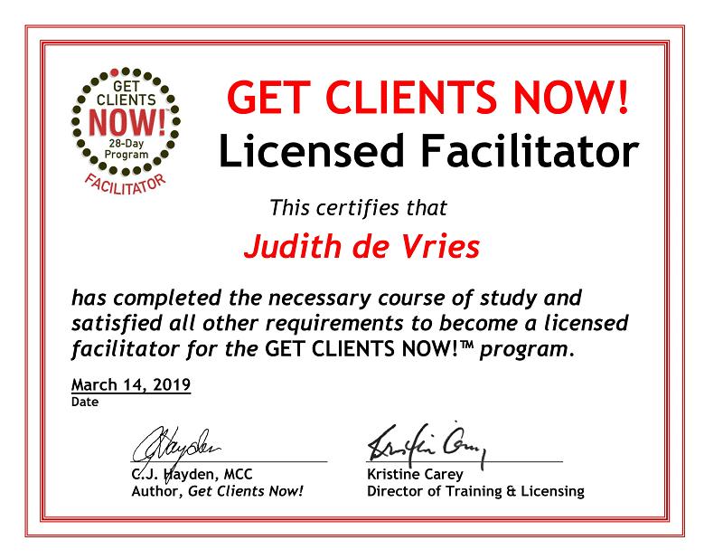 GCN facilitator certificate Judith de Vries