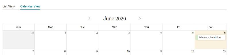 social post in kalender