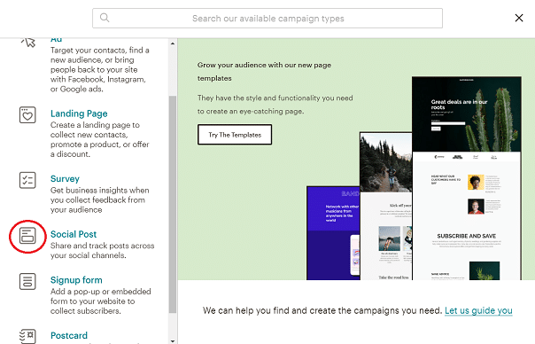 Mailchimp social post maken