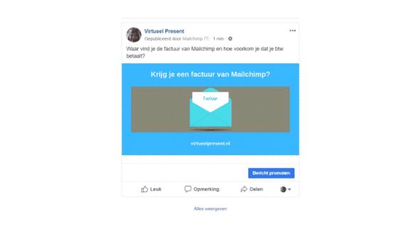 voorbeeld van een organische social post via Mailchimp op Facebook geplaatst