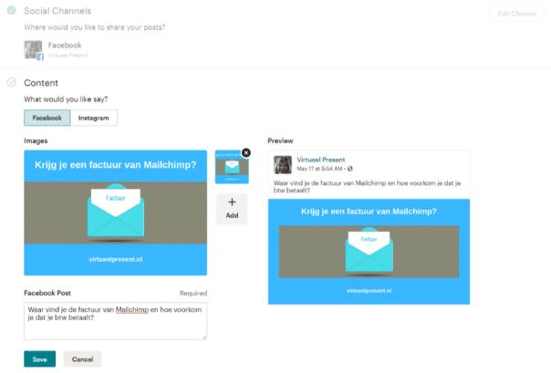 Uitleg content toevoegen aan Mailchimp social posts