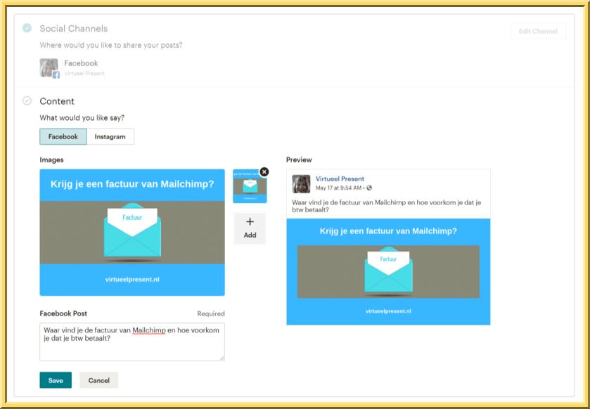 Content toevoegen voor Mailchimp social posts