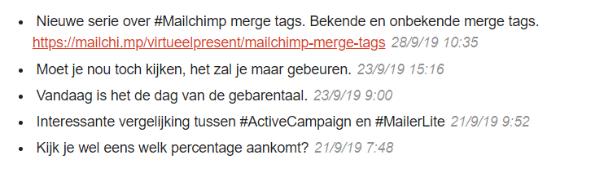 Mailchimp merge tags voor Facebook posts