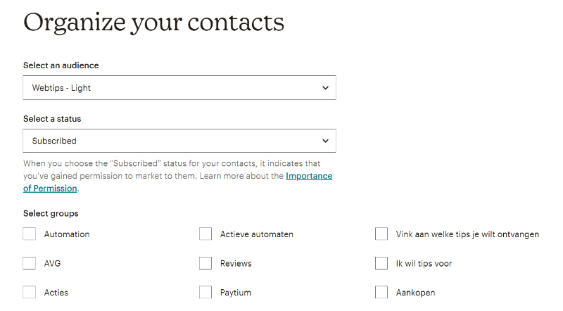 organize your contacts