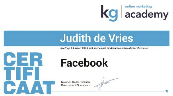 certificaat cursus Facebook