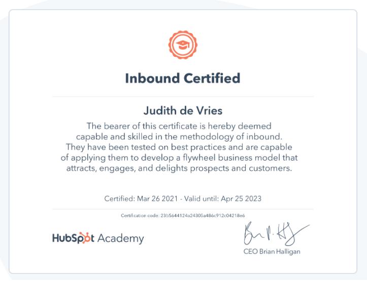 Hubspot Inbound certificaat