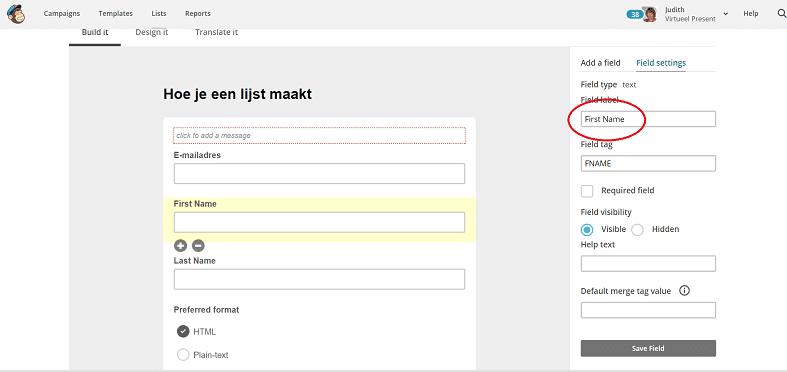 Mailchimp inschrijfformulier maken - voornaam vertalen